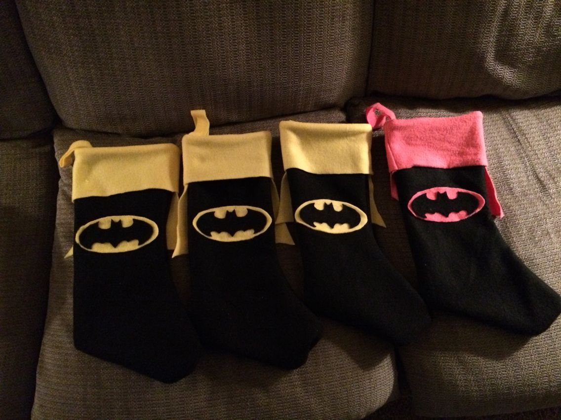 I made these batman stockings!!!!