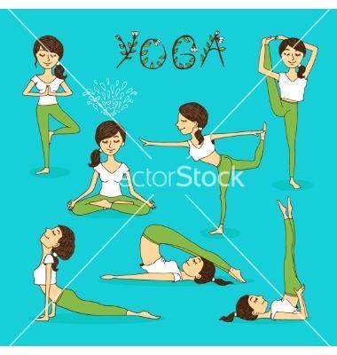 handdrawn yoga poses vectorneyro2008 on vectorstock®