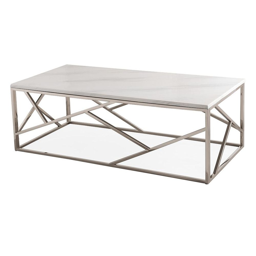 Tov Furniture Oc3745 Le Coffee Table White Marble Top Gloss Silver Geometric Base