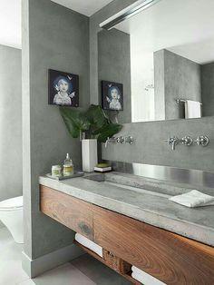 Modern und elegant: Betonwaschbecken mit Holzverkleidung ...
