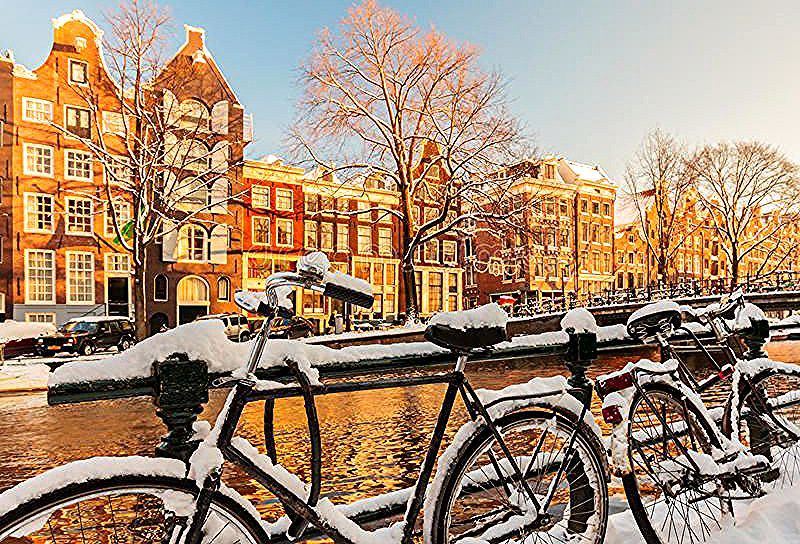 Bicycles covered with snow during winter in Amsterdam Bicycles covered with sno