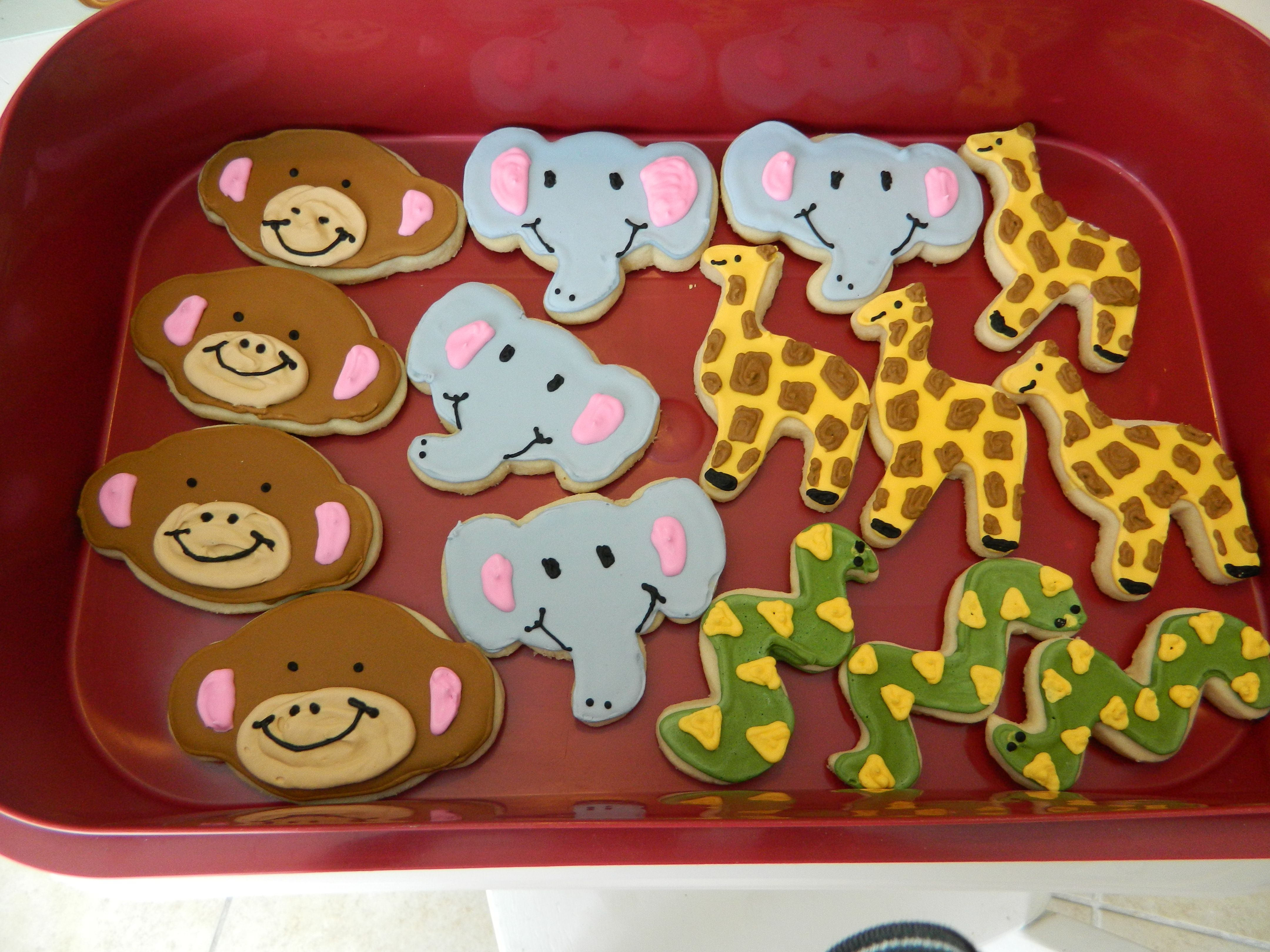 Jungle Animal Cookies- 4th birthday party - monkeys, elephants, giraffes and snakes