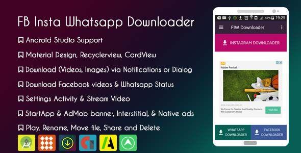 Facebook Instagram Whatsapp Downloader with AdMob and StartApp