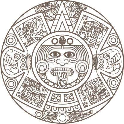 Stylized Aztec Calendar In Gold Color Vector Illustration Designs De Tatuagem Asteca Calendario Asteca Simbolos Astecas