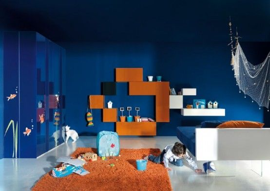 Captivating Awesome Ultra Modern Kids Bedroom Designs By Lago: Awesome Ultra Modern  Kids Bedroom Designs By Lago With Blue Wall Color And Orange Rug And Wall  Shelves ...