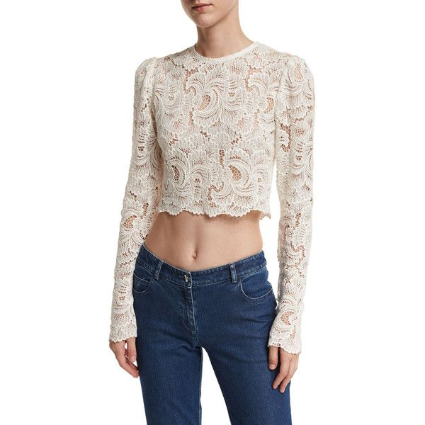 A.L.C. Talia Long-Sleeve Cropped Sheer Lace Top ($375) ❤ liked on Polyvore featuring tops, white, women's apparel tops, scallop hem top, long sleeve crop top, a.l.c top, scallop top and sheer crop top