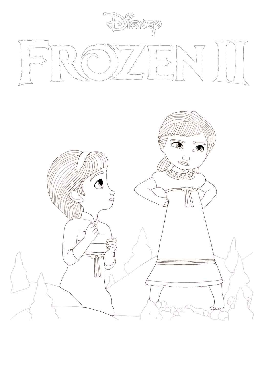 Free Frozen 2 Young Anna And Elsa Coloring Page Print Or Download Frozen Ii Coloring Pictures Prin Elsa Coloring Pages Elsa Coloring Disney Coloring Sheets