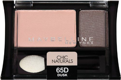 Maybelline New York Expert Wear Eyeshadow Duos, Chic Naturals 65d Dusk, 0.08 Ounce (041554248142) Two complementary shades with step by step application guide All day crease proof wear Velvet tip applicator