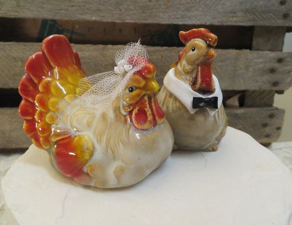 En Wedding Cake Topper Hen Rooster By Thequirkycorncrib