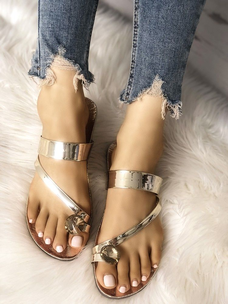 3dc9f58d99dca Concise Solid Shiny Toe Ring Flat Sandals in 2019