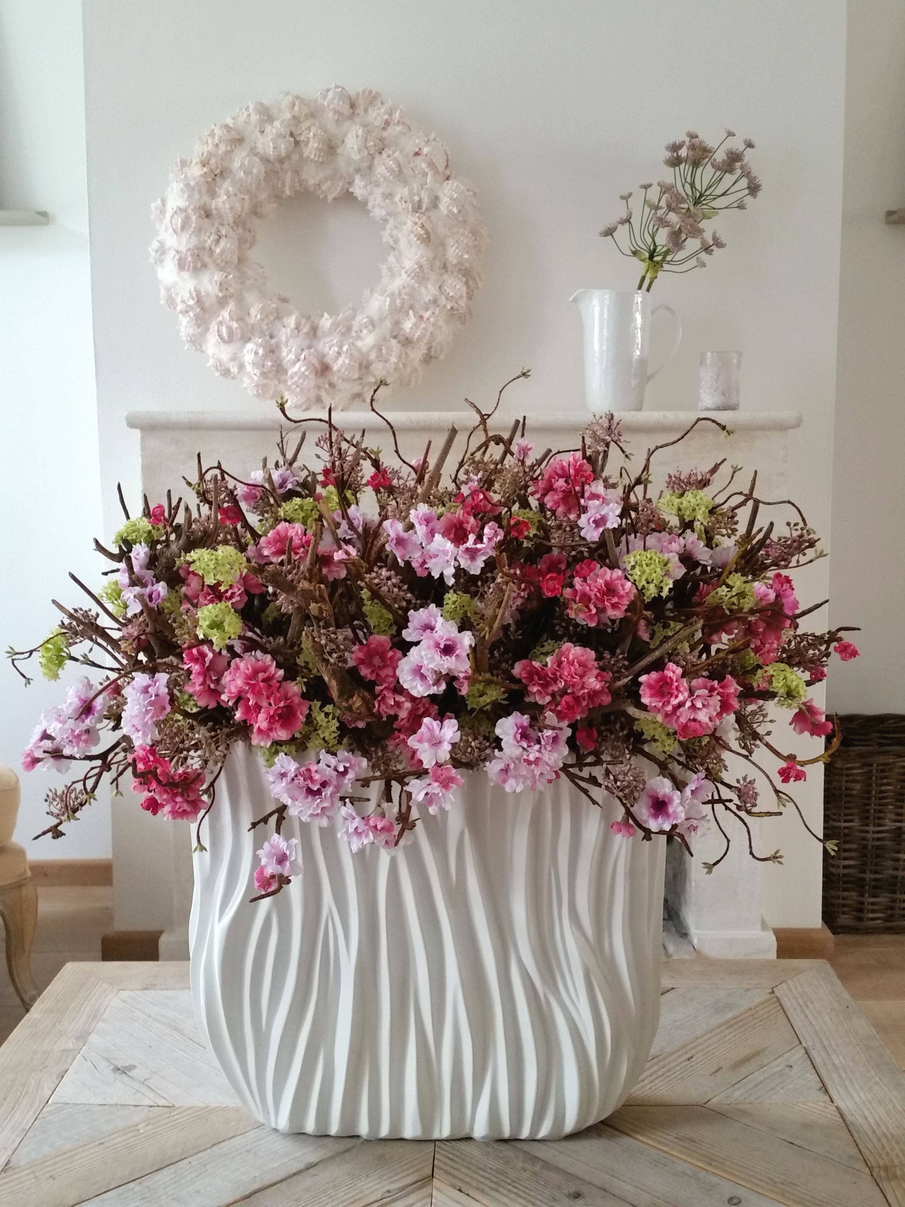 Large Centerpiece Of Natural Branche Silk Flowers In Pink In