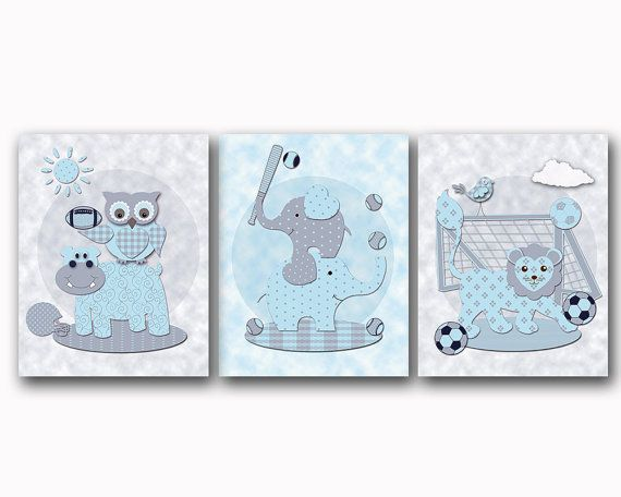 Nursery wall decor baby boy room art animals by PinkRockBabies