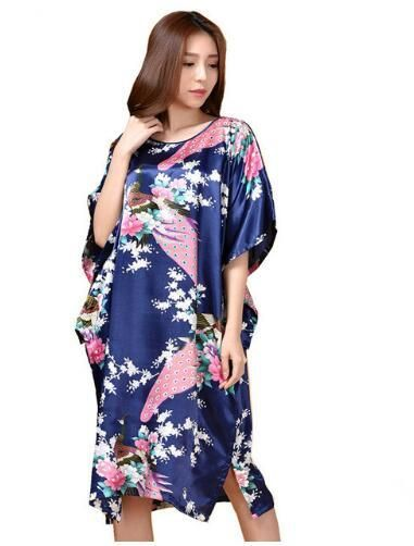 e8e07a2c5b5dc Novelty Print Black Female Satin Robe Dress Nightgown Novelty ...