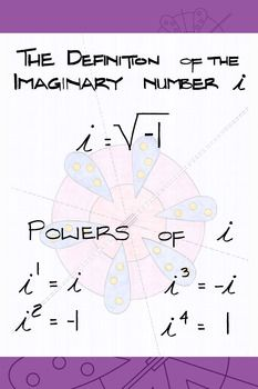 Imaginary (Complex) Number i Poster | Complex numbers | Complex ...