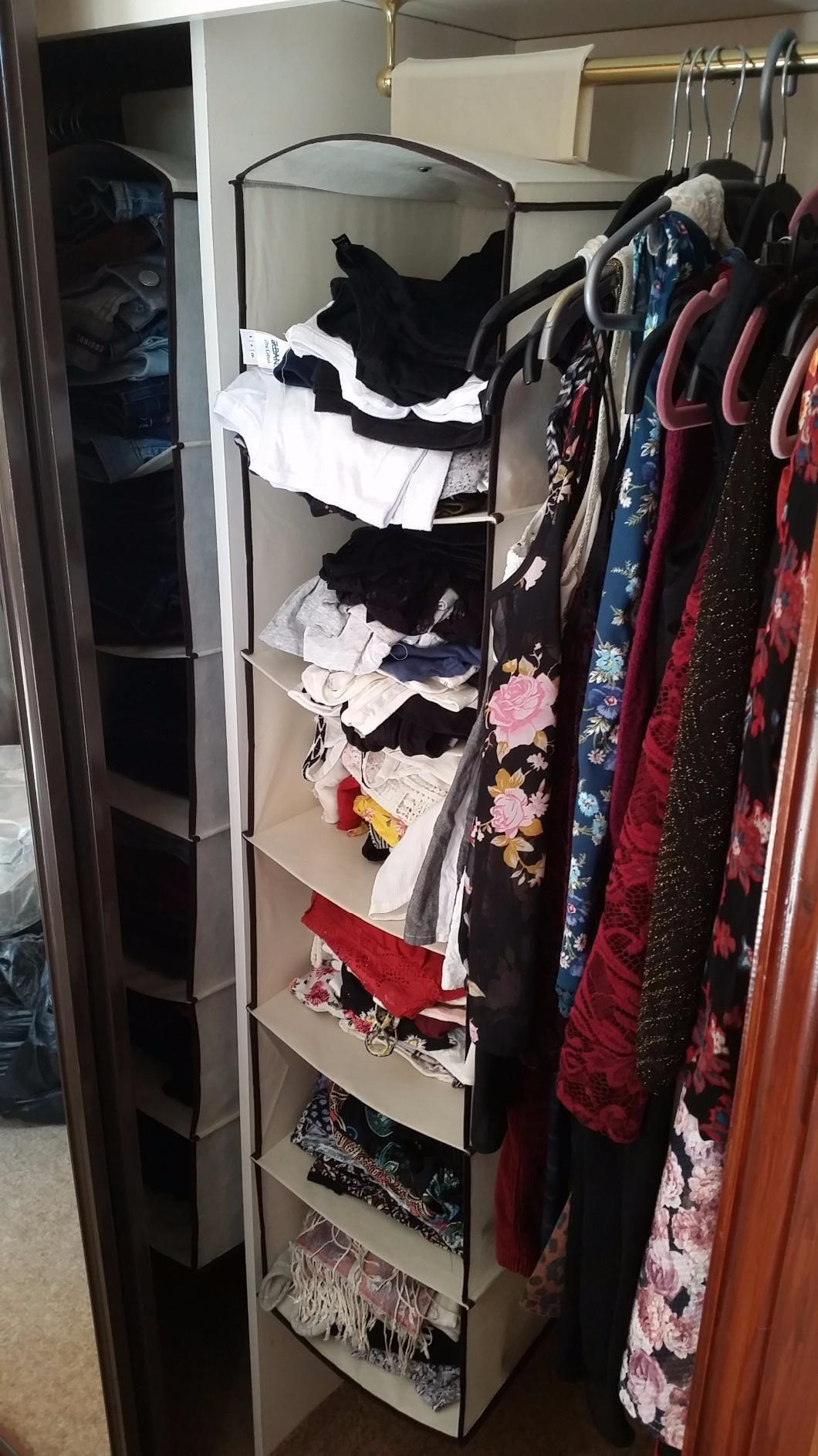 6 Shelf Hanging Wardrobe Storage Unit Sweater Organiser Amazon.co.uk Kitchen & 6 Shelf Hanging Wardrobe Storage Unit Sweater Organiser: Amazon.co ...