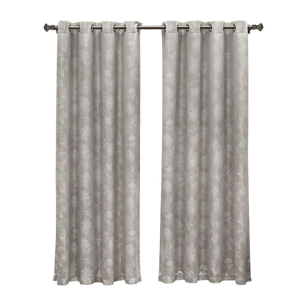 Window Elements Semi Opaque Danica Faux Embroidered 54 In W X 84 L Grommet Extra Wide Curtain Panel Jacquard Chocolate Ymc002473 The Home Depot