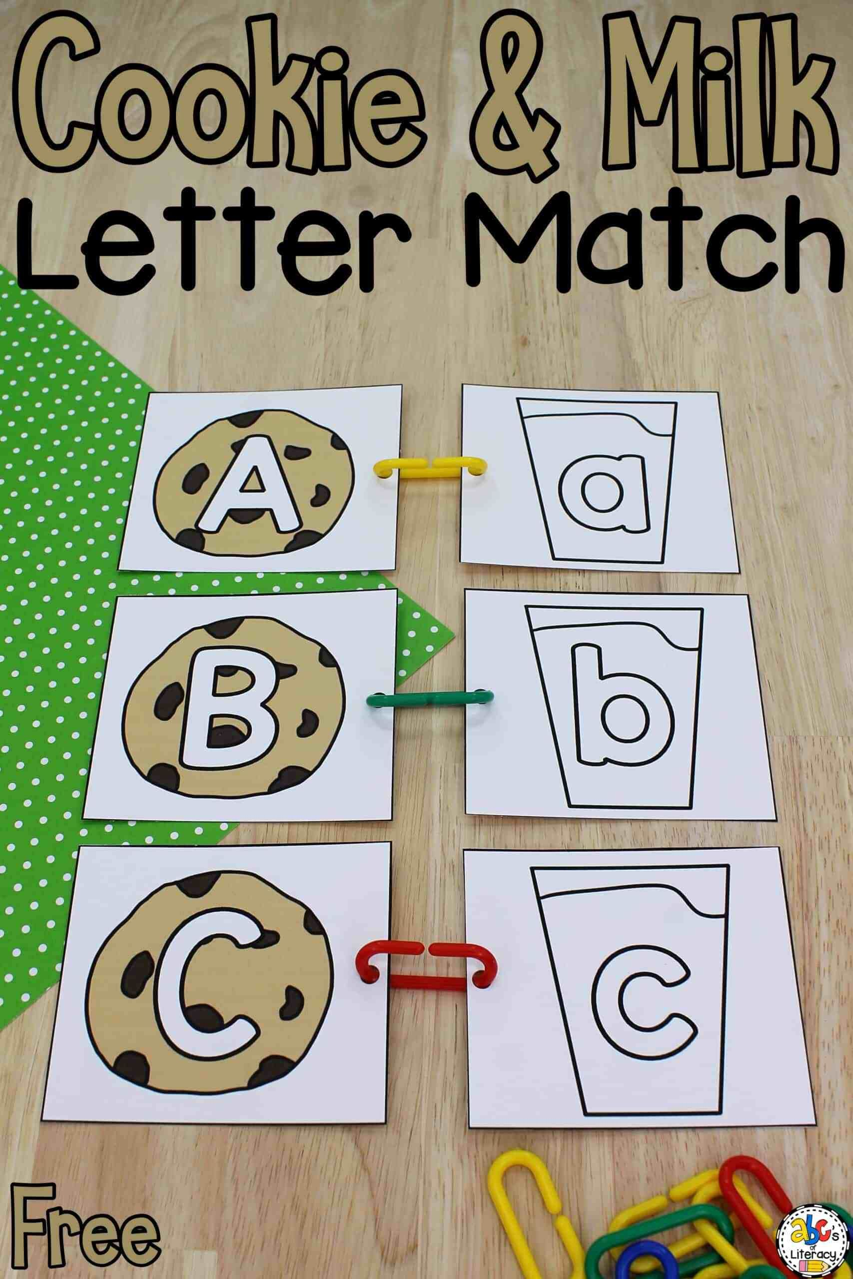 Cookie Amp Milk Letter Match Letter Recognition Activity In