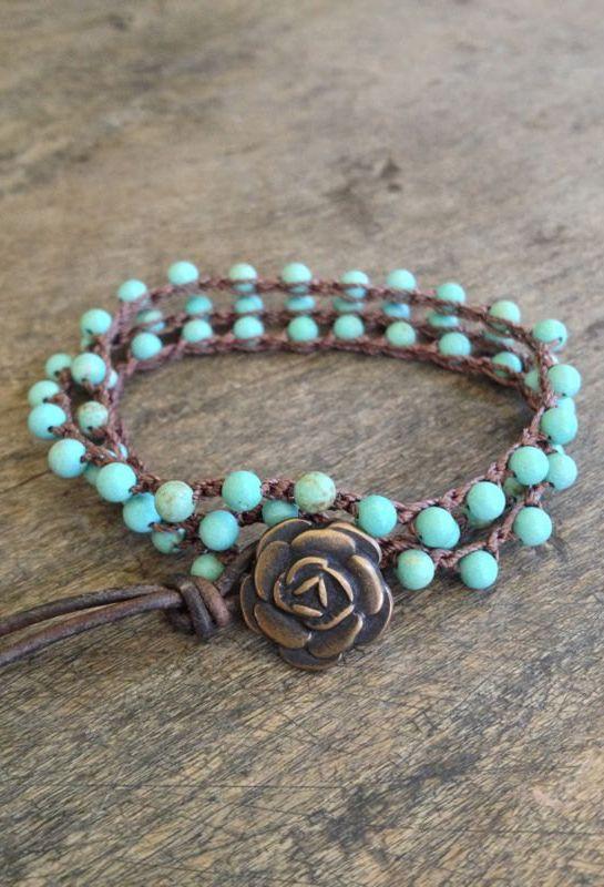 "Turquoise Crochet Multi Wrap Bracelet ""Boho Chic"" #bracelet #charmbracelets #charm #luckycharms #acessórios #pulseiras"