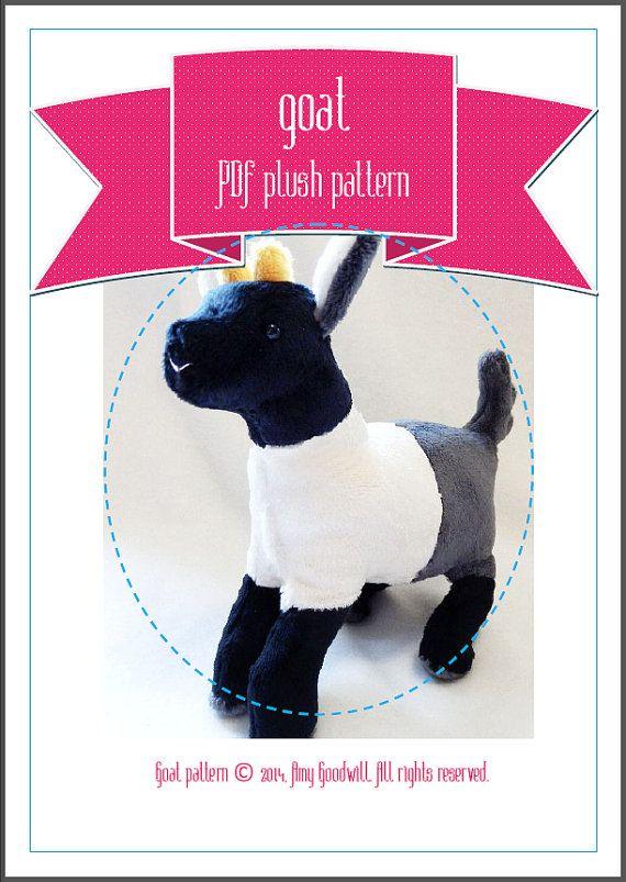 Pygmy Goat plush pattern stuffed animal sewing PDF | Craft Ideas ...