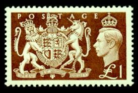 Great Britain 1951 King George VI SG 512 Royal Coat of Arms £1 Fine Mint Scott 289 Other British Commonwealth Stamps HERE!