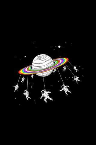 Astronauts Merry Go Round Planet Space iPhone 6+ HD Wallpaper