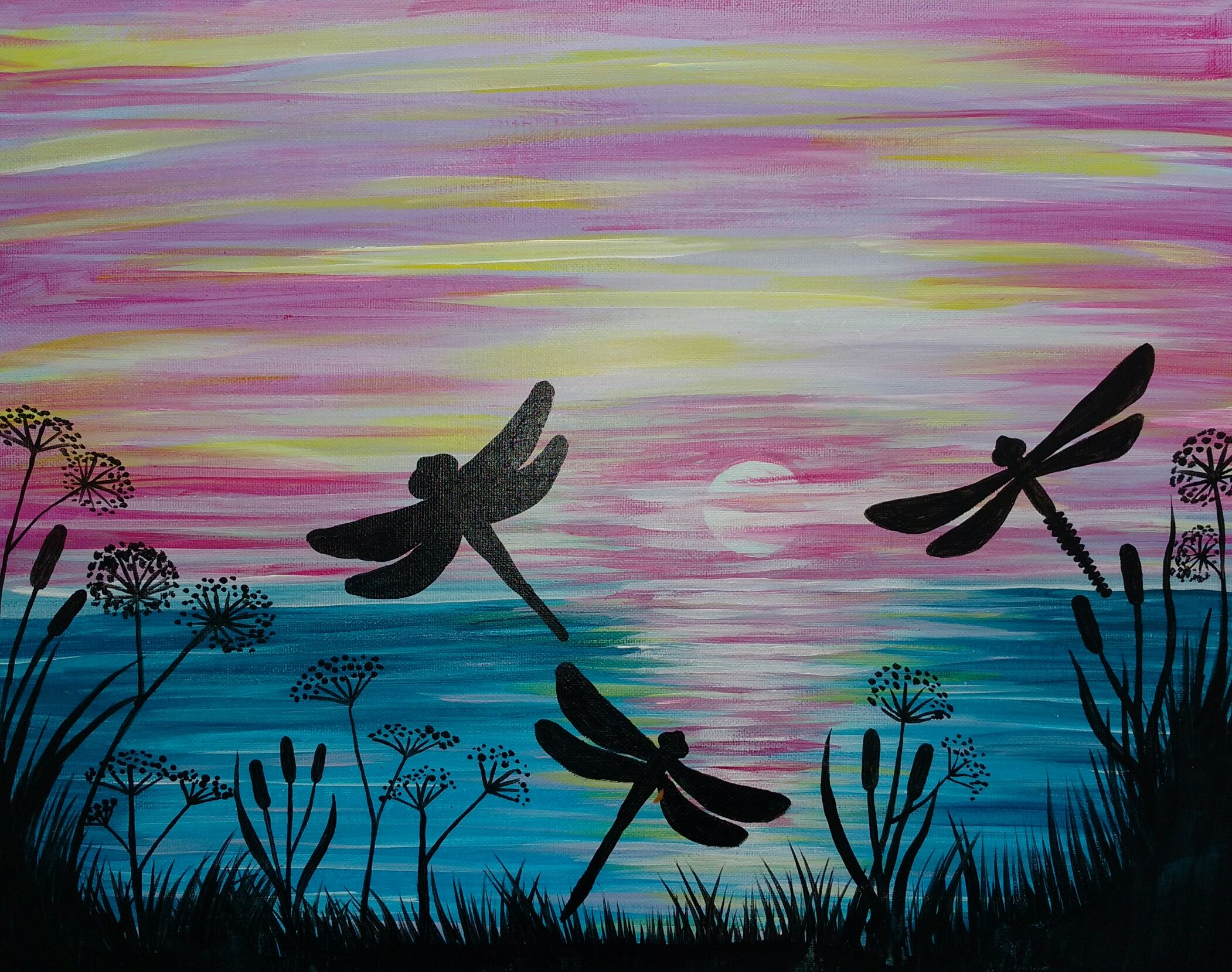 Dragonflies and sunset over the lake, beginner painting idea.