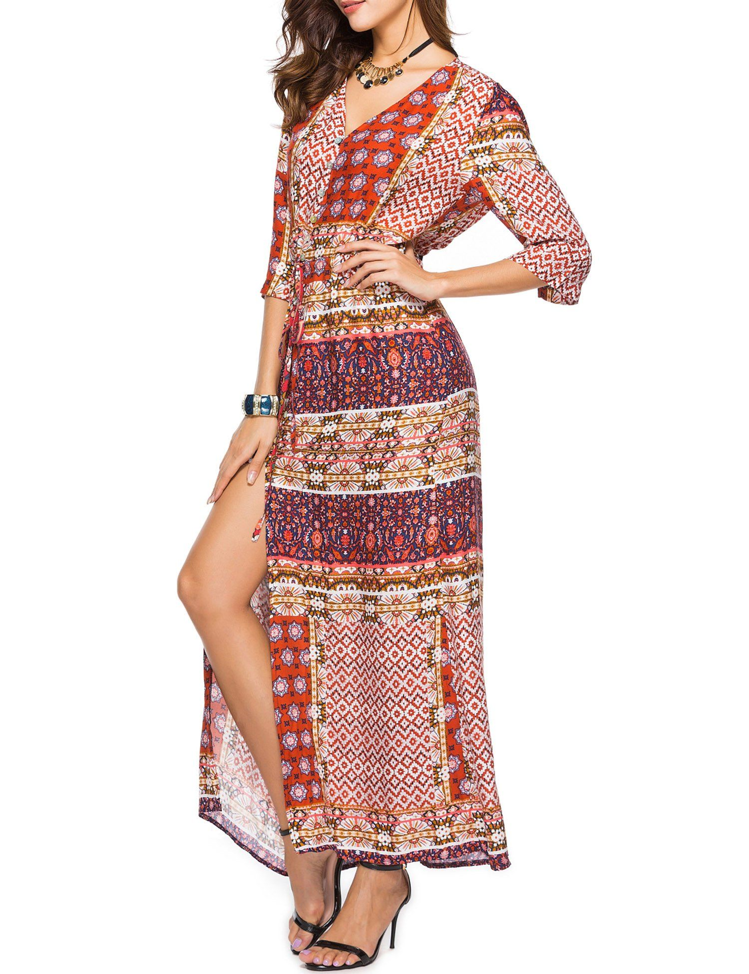 Roaays M Womens Summer Beach Boho 3 4 Sleeve Button Up Floral Split Long Maxi Dress Check This Awesome Product By Going T Maxi Dress Dresses Long Maxi Dress [ 1950 x 1500 Pixel ]