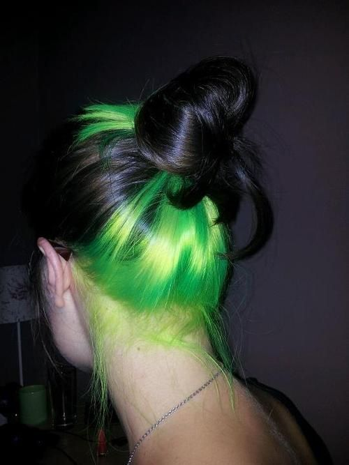 Pin By Heather Hursky On Hair Colors And Styles Neon Green Hair Hidden Hair Color Hair Color Underneath