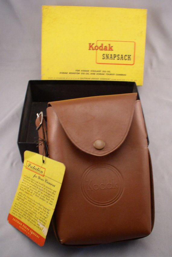 KODAK SNAPSACK Vintage 1940s Leather Camera Case - Old Store Stock Never Used