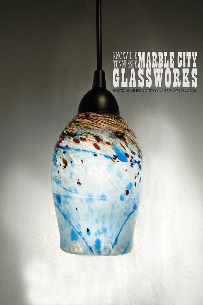 blue speckled hand blown glass pendant light unique