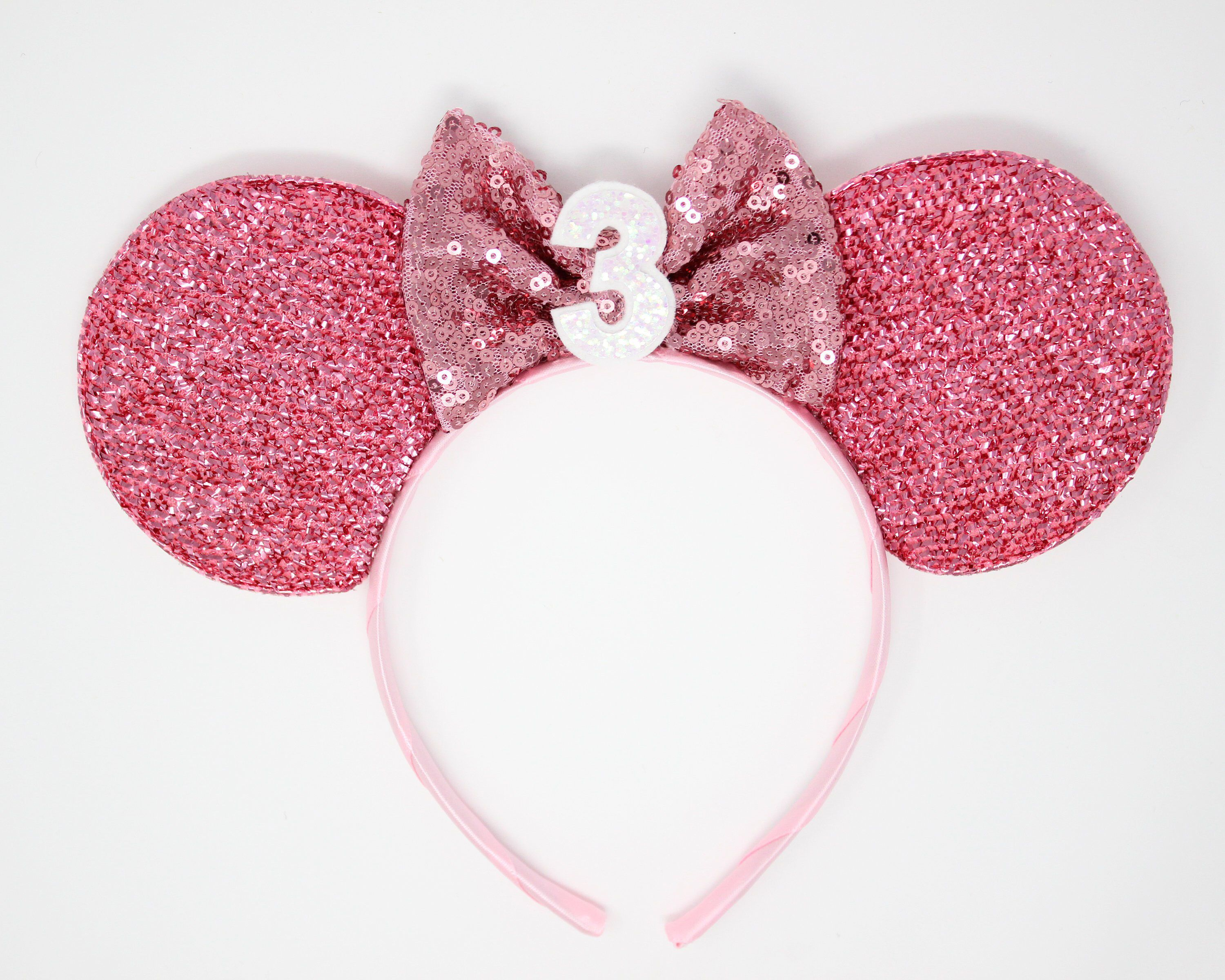Crochet White Ears with Pink Sparkly Bow Headband Crochet Mouse Ears Headband Crochet Mouse Ears Headband with Bow