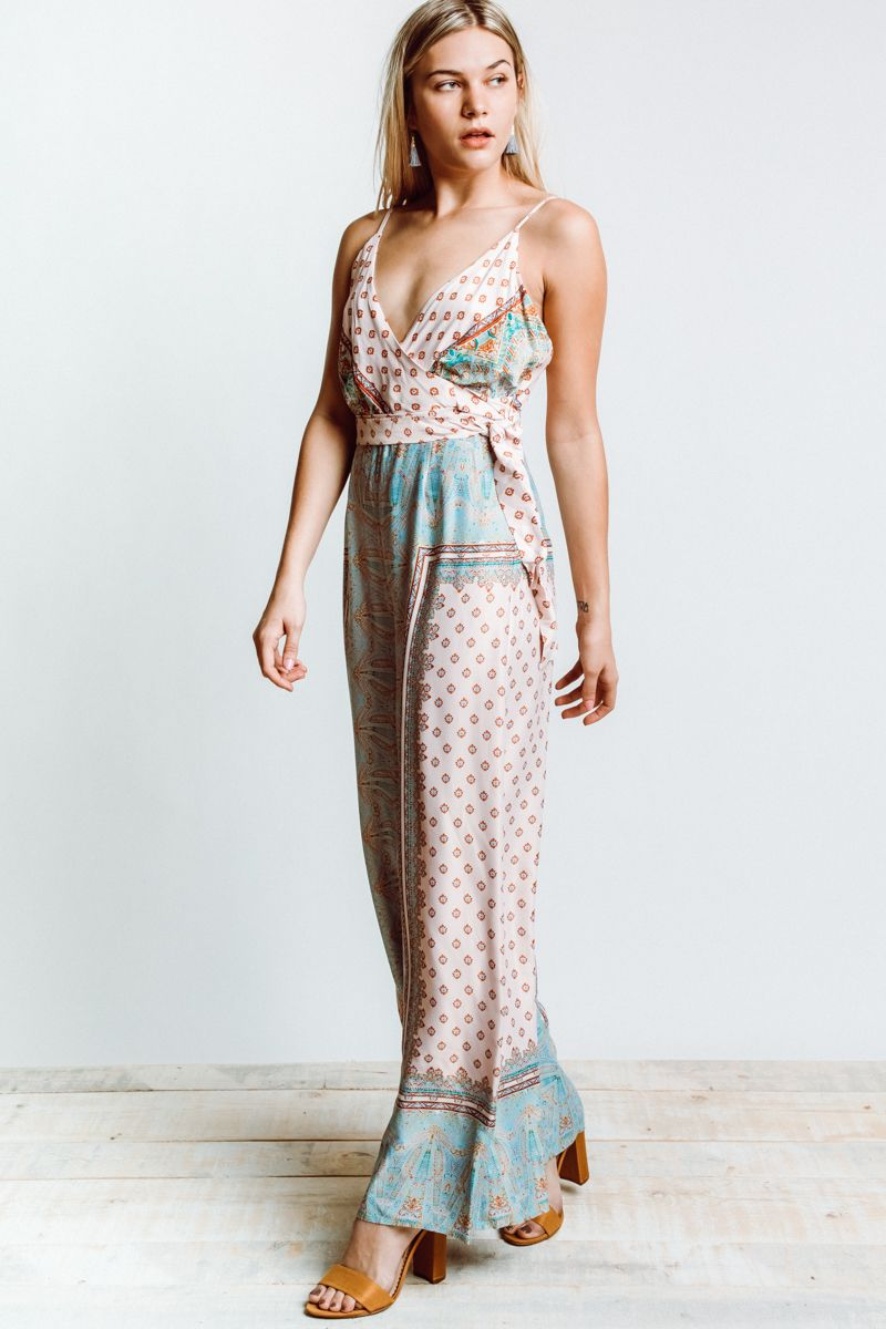 99aedc333cc8 Go casual or dress if up with this Free People Cabbage Rose Jumpsuit. Pale  pink and teal printed wide leg jumpsuit. The perfect spring summer jumpsuit  for a ...