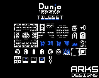 Dunjo - Free Platformer Tileset by Arks | 1 bit pixelart