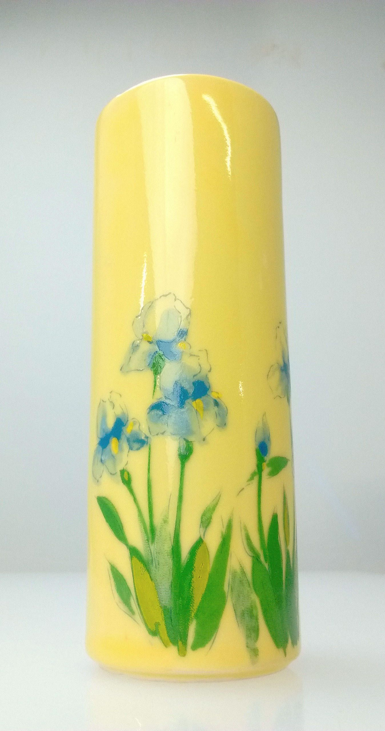 Vintage mccoy yellow blue iris 575 tall pattern 676 pottery bud vintage mccoy yellow blue iris 575 tall pattern 676 pottery bud vase 19045 by antiqueshack reviewsmspy