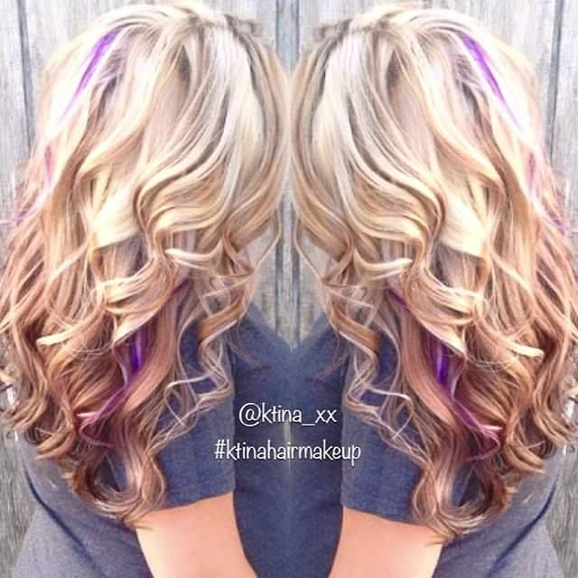 This Is Kinda What I M Fixing To Do But Chunkier Highlights In Blue And Purple Blonde Hair With Highlights Peekaboo Hair Purple Highlights Blonde Hair