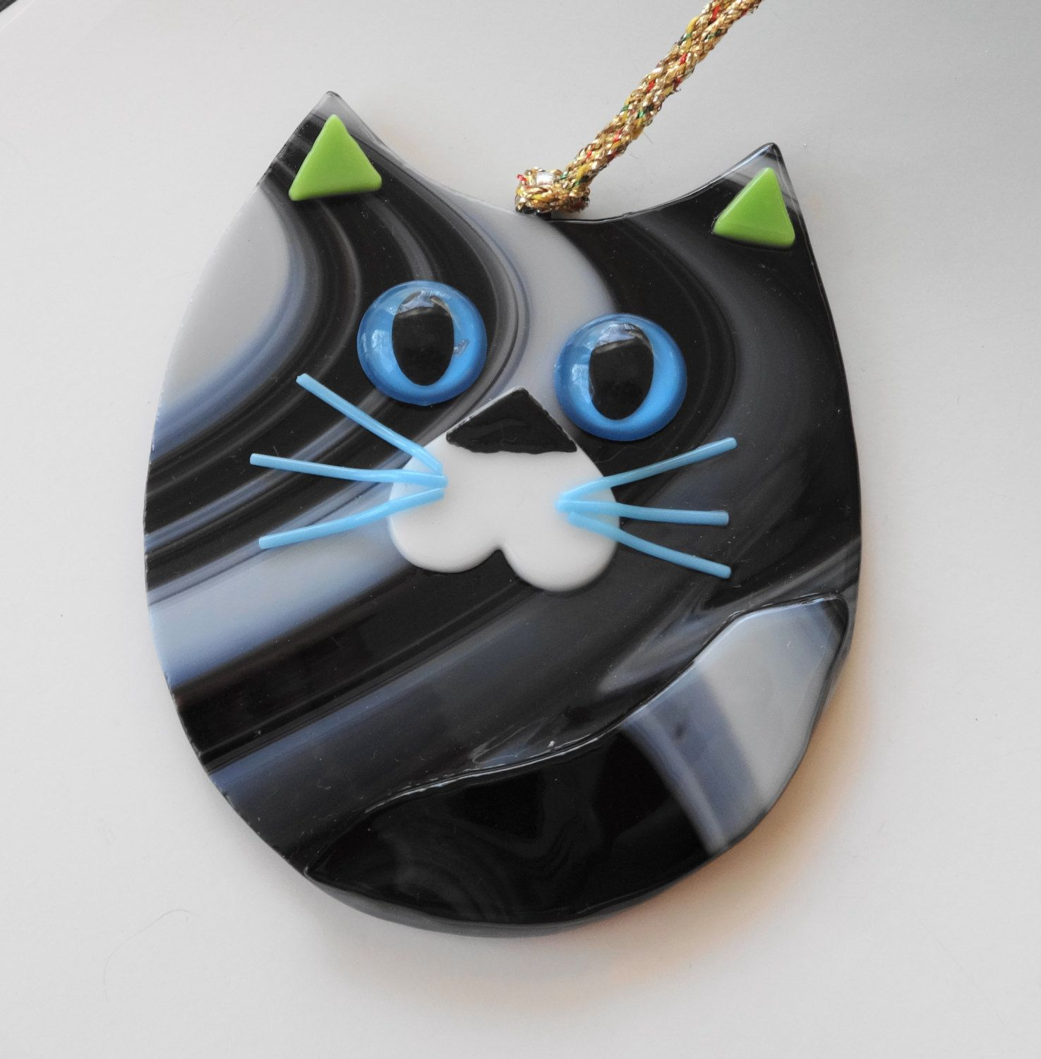 New to GlassCat on Etsy: Fused Glass Cat Suncatcher Black ... - photo#41