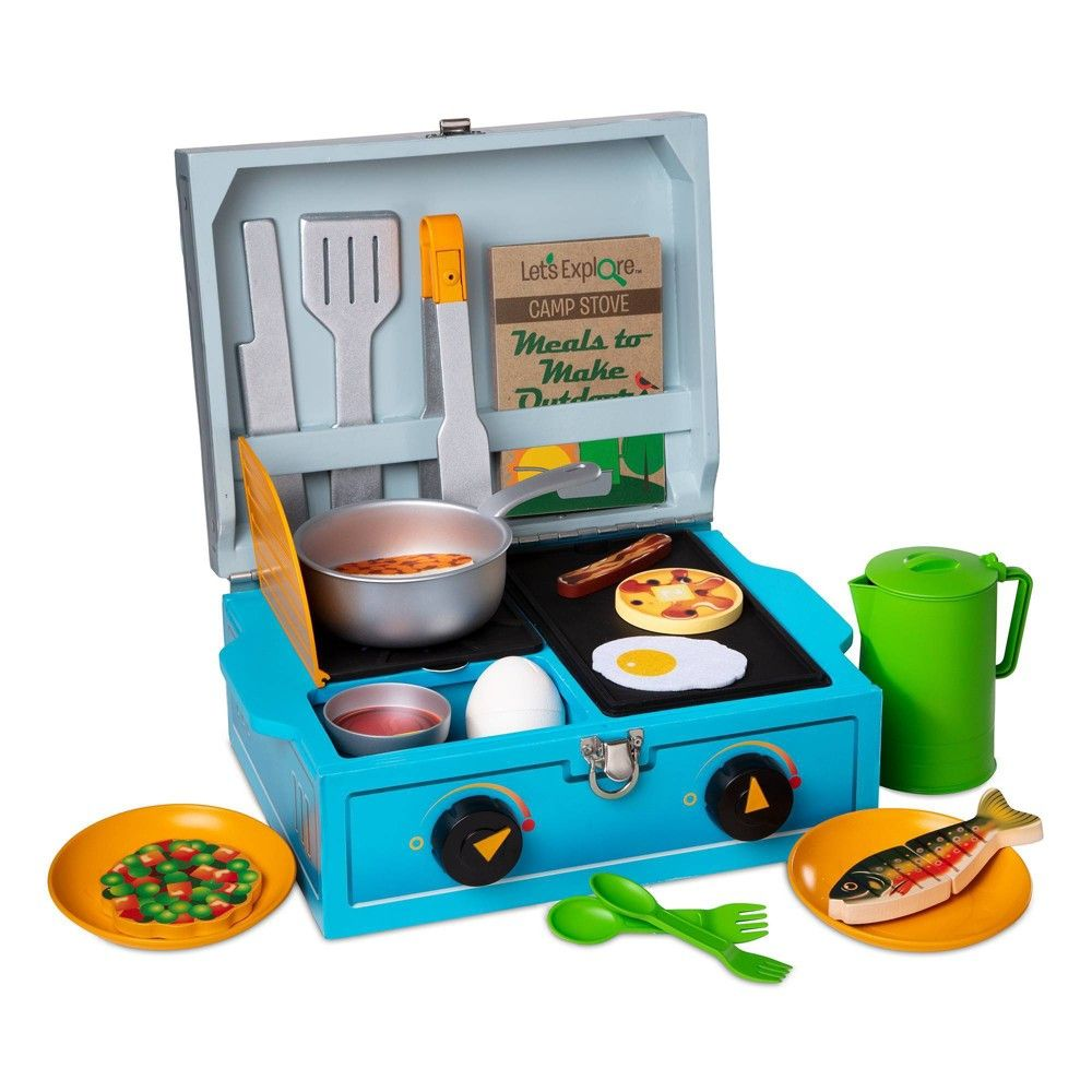 Melissa Doug Let S Explore Camp Stove Play Set Wooden Play Food Camping Stove Camping Toys