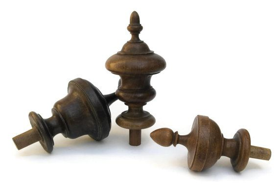Antique Wood Finials French Furniture Ornaments Architectural