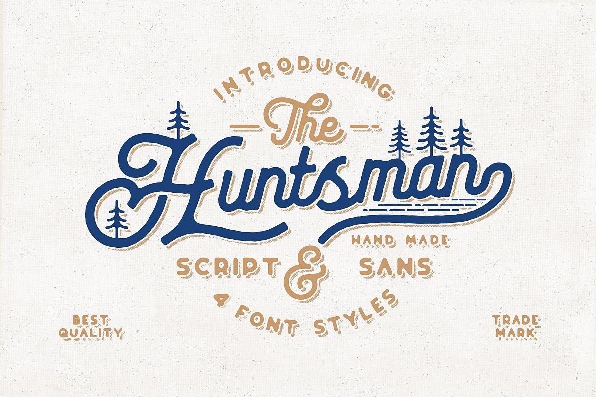 The Huntsman Script and Sans Typeface | Vintage Fonts | Ttf