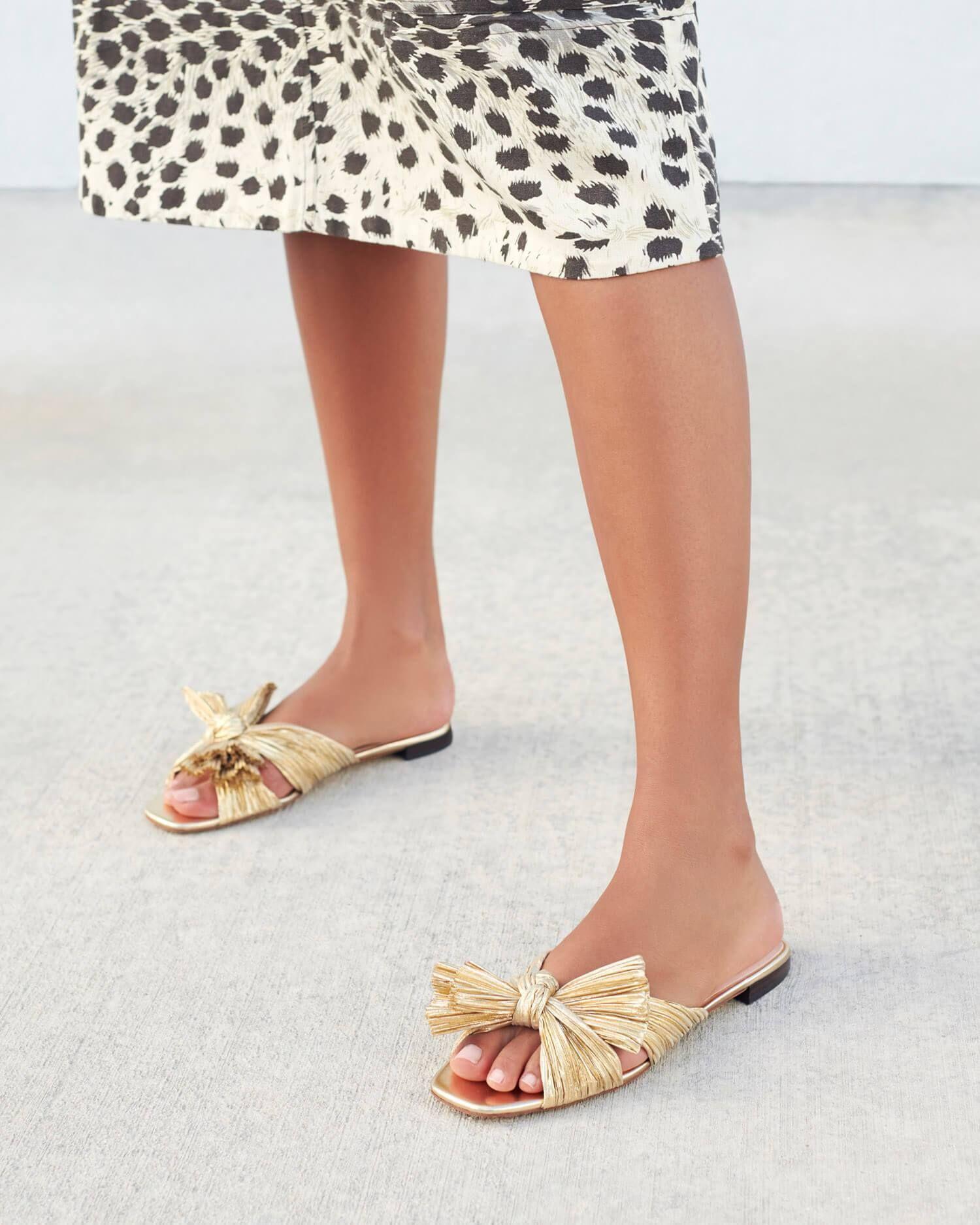Daphne Knot Flat Sandal Gold In 2020 Flat Sandals Daphne Low Heel Sandals