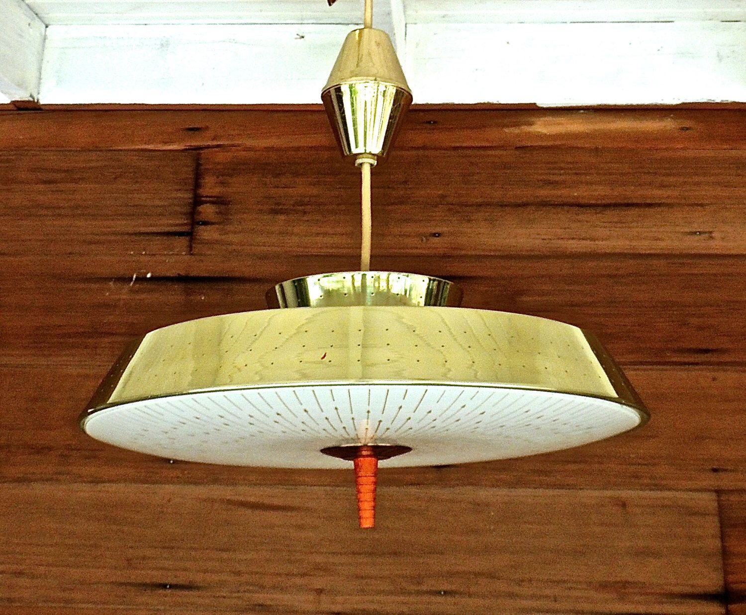 Flying Saucer Light Fixture 1950s Mid Century Atomic Gold Extendable Chandelier By Mkmack On