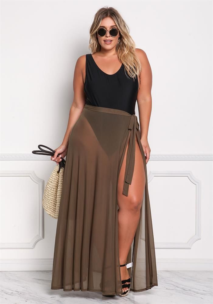 35853210f2 Plus Size Clothing | Plus Size Mesh Cover Up Maxi Skirt | Debshops ...