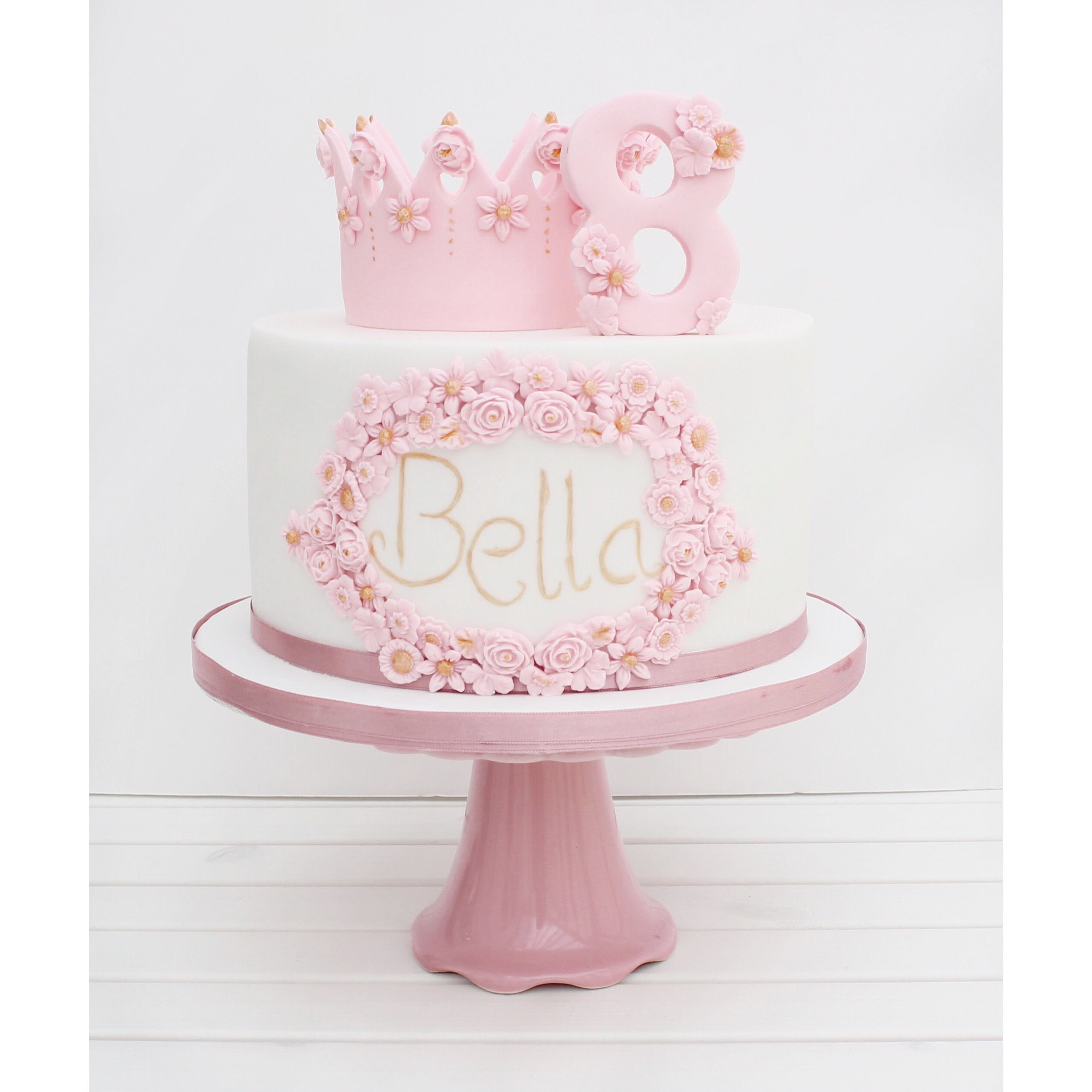 Swell Cherry Crumbs Princess Flower And Crown Birthday Cake Pink Cake Funny Birthday Cards Online Sheoxdamsfinfo