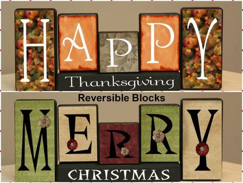 Double Sided Wood Sign, Christmas Decor, Thanksgiving Decor, Merry Christmas Sign, Happy Thanksgiving Sign, Seasonal Mantle Decorations