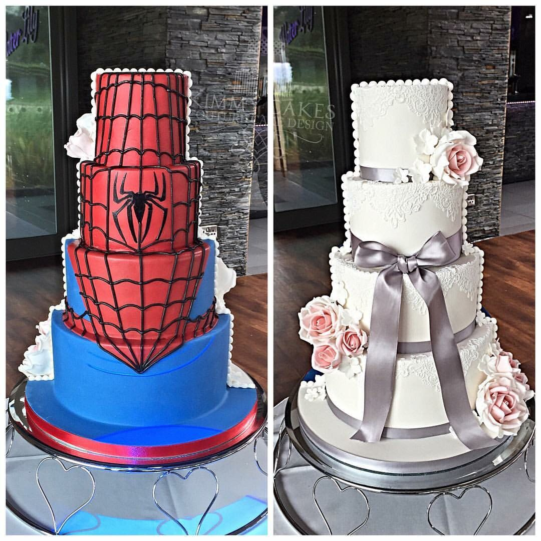Half and half wedding cake marvel spiderman tortas de boda
