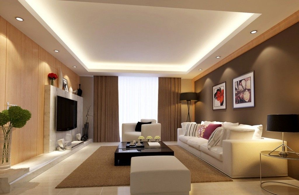 Simple Living Room Lighting Recessed Around The Edge And A Light