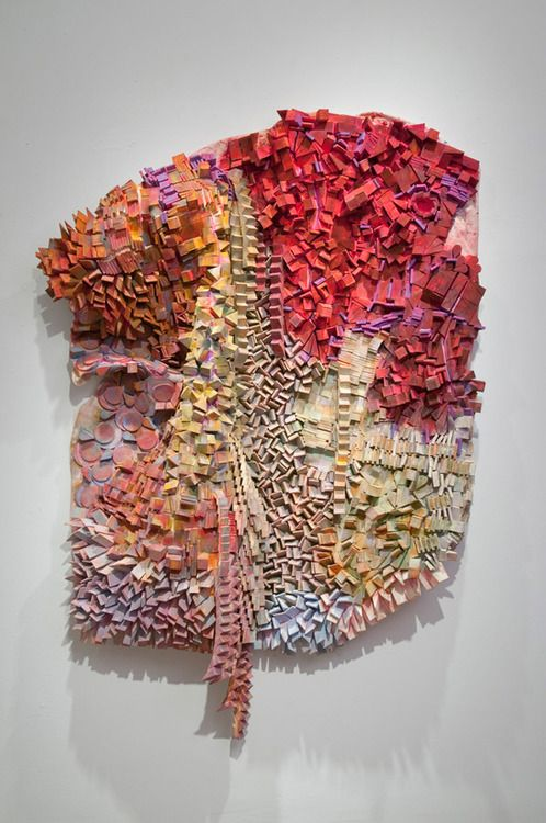 Relief sculptures by American artist Margery Amdur, made entirely from painted cosmetic sponges! #art