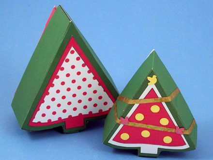Christmas Tree Shaped Box With Patterns Diy Christmas Gifts Tree Crafts Christmas Tree Decorations Diy