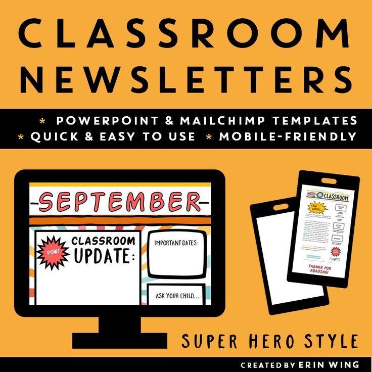 Classroom Newsletters Super Hero Style Editable Templates