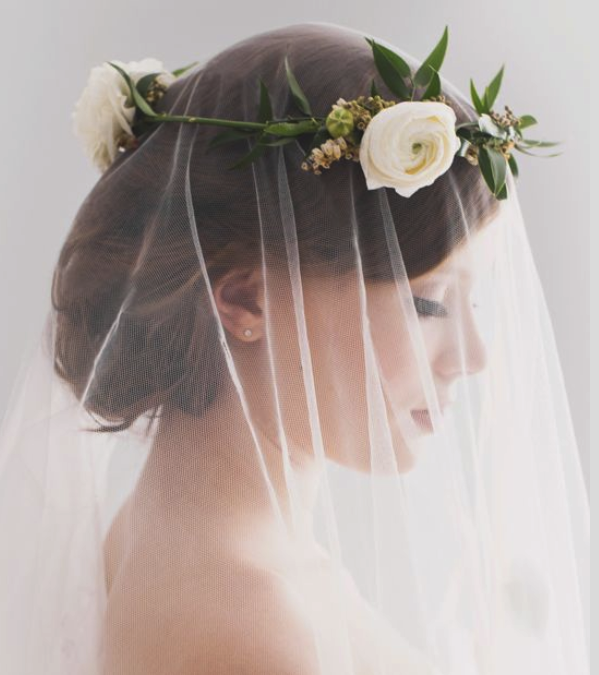 The Bride Will Wear A Flower Crown Of Green Italian Ruscus Ivory Ranunculus And White Heather